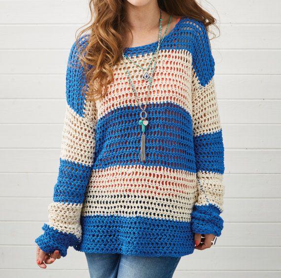 Crochet Slouchy Jumper, Crochet Pattern, Stripy Jumper, Instant ...