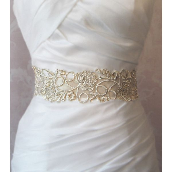 Champagne Gold Lace Bridal Sash, Wedding Gown Sash, Beaded Bridal ...