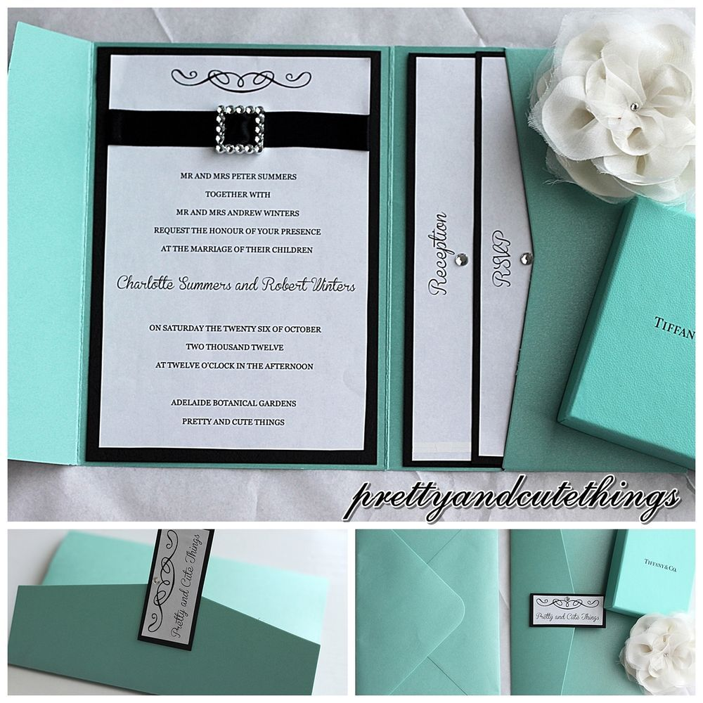 tiffany blue wedding invitations Tiffany co shimmer wedding invitations diy pocket cards envelopes invites
