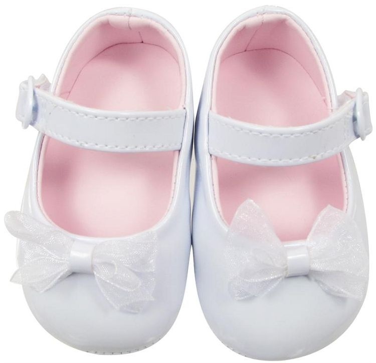 Baby Girl Pre-Walker soft sole Patent upper with organza bow foot detail