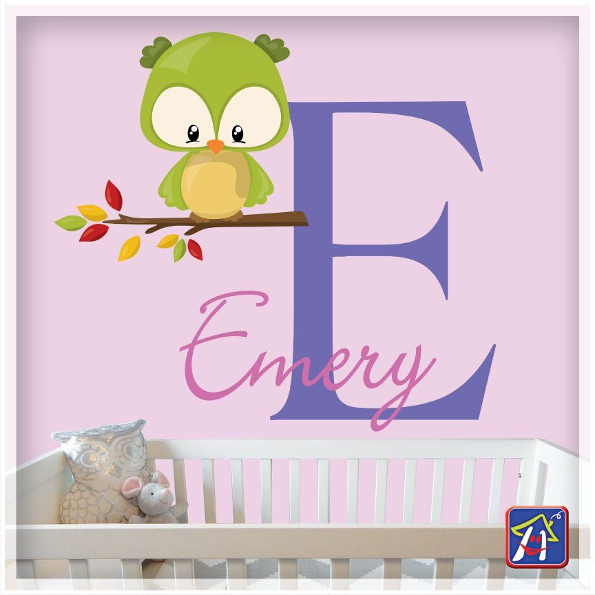 Owl Wall Decal Nursery Personalized Name For Woodland Baby Animals Monogram Initial By Hyhouseno1 On