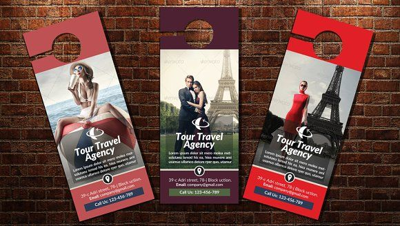 Perfect Tour Travel Door Hanger Template Templates Easy Customizable And Editable  With Bleed CMYK Color Design In 300 DPI Resolution Pri By Psd Templates
