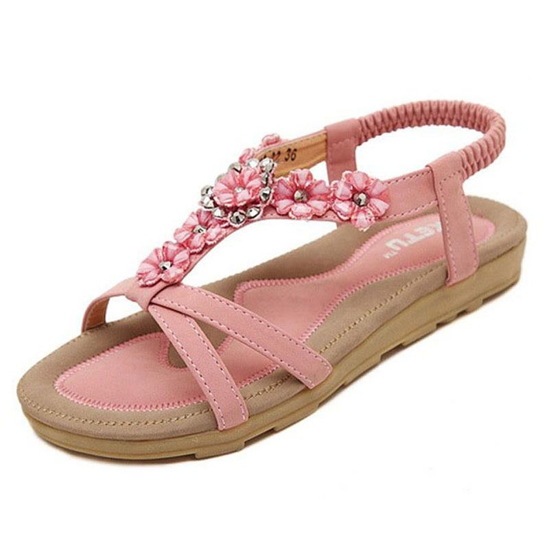 Women Bohemia Beaded Flat Shoes Flower Flip Flops Ladys Basic Peep-Toe Sandals Casual Beach Shoes