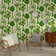 Papier peint intissé COCONUT GROVE coloris vert palmier