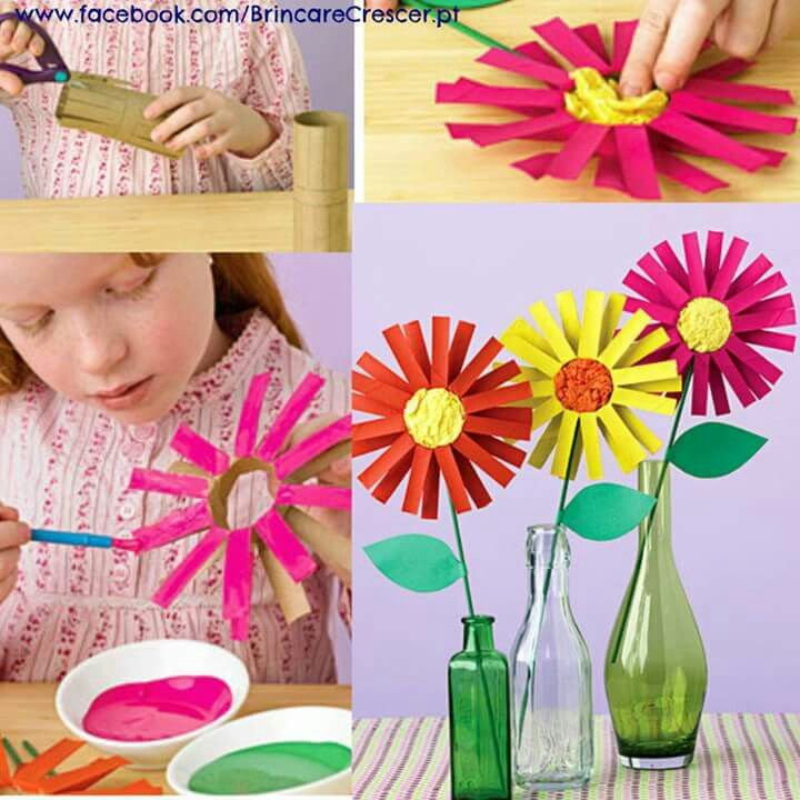 Flores Nani Pinterest Flores De Papel Para Ninos Manualidades