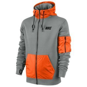 Nike Hybrid Full Zip Hoodie - Men s - Dark Grey Heather Team Orange Black 088c8c4b2