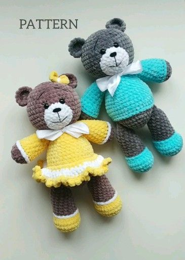 Crochet PATTERN Amigurumi Stuffed Plush Bear #crochetteddybearpattern