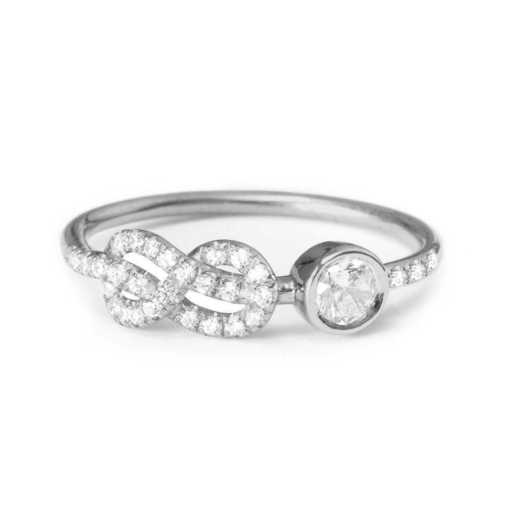 Asymmetric infinity knot diamond ring unique diamond