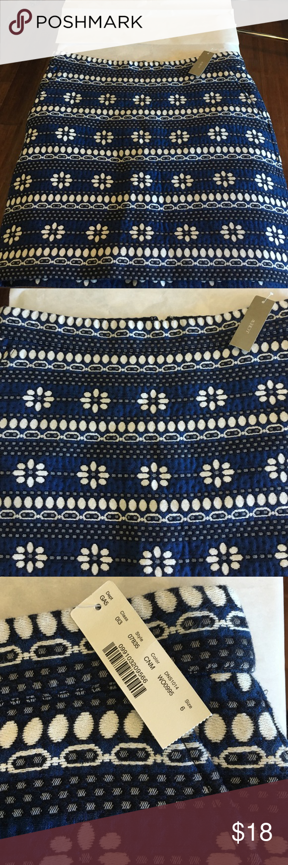 J. Crew Skirt NWT J. Crew Skirt. (Please note that the price tag has been removed). Size 6. Print colors are blue/white/black. Fully lined. 80% cotton/20% polyester. Side Pockets. Waist measures approximately 16 inches lying flat//17 inches in length. Please ask all questions before making an offer or purchase. Thanks for stopping by my closet! J. Crew Skirts