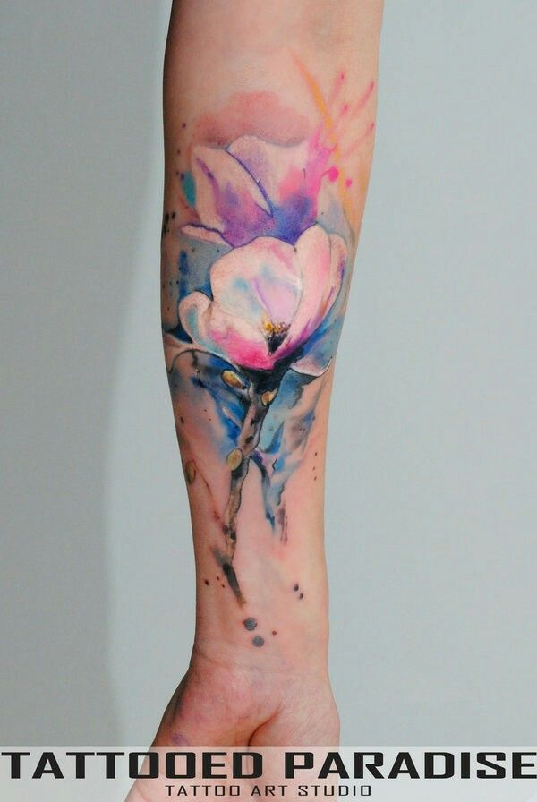 Flower Tattoo Watercolor Background