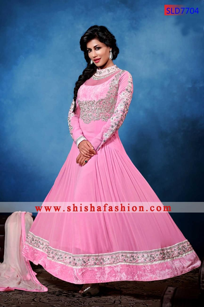 25cb8d7918 BEAUTIFUL BABY PINK COLOR GEORGETTE FABRIC DESIGNER CHURIDAR SUIT ...