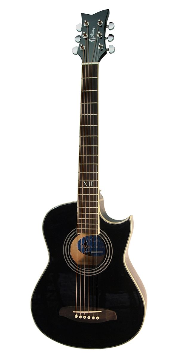 Martinez Midnight Traveller Acoustic Electric Guitar Black Acoustic Electric Guitar Acoustic