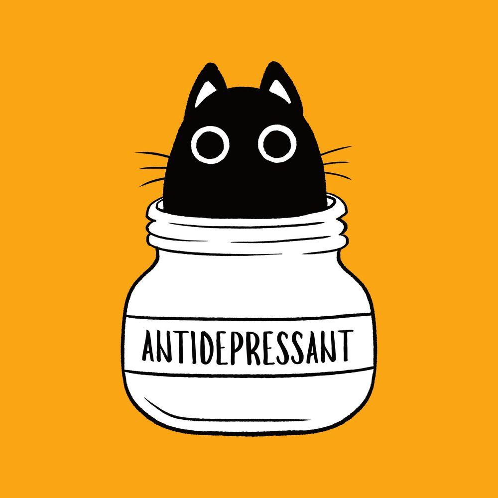 Antidepressant Cat Art Print