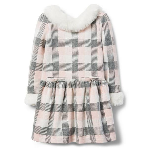 ea9472b56 Checked Faux Fur Trim Dress