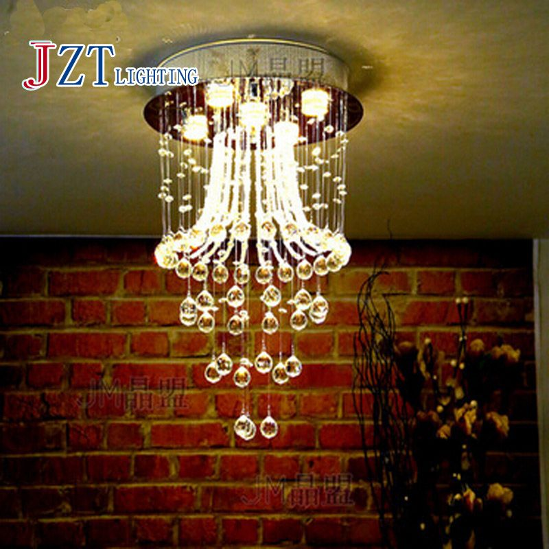 T Best Price Modern Lustre Crystal Aisle Lights Circular Dining Room Lamp With LED Bulb