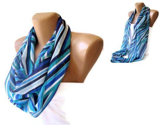 chevron infinity scarf chiffon fabric , eternity scarf , loop scarf , women scarves , girly fashion accessories , mint green , aqua , blue ,. $19.00, via Etsy.