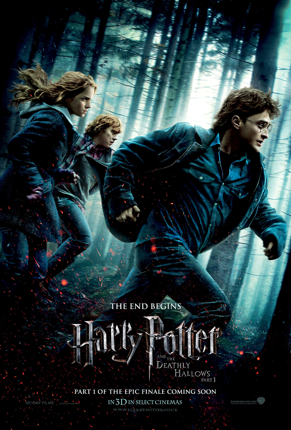 Deathly Hallows Part 1 Theatrical Poster Harry Potter Fan Zone In 2020 Harry Potter Movie Posters Deathly Hallows Movie Deathly Hallows Part 1