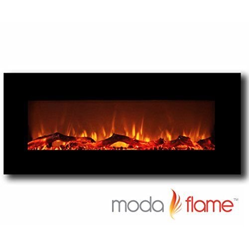 Moda Flame Houston 50 Electric Wall Mounted Fireplace Black Moda