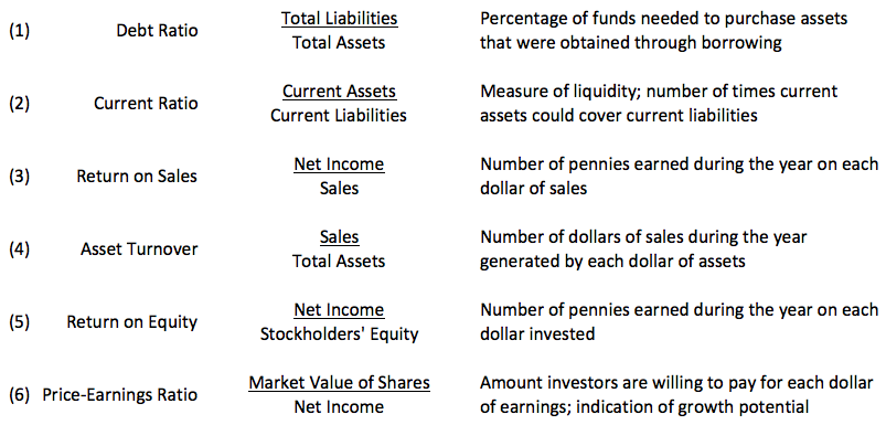 Summary Of Selected Financial Ratios  Accounting