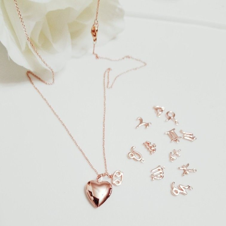 small heart locket initial zodiac locket necklace choose your initial and zodiac sign for personalization