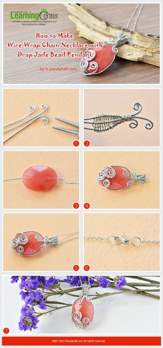 Tutorial on How to Make Wire Wrap Chain Necklace with Drop Jade Bead Pendant from LC.Pandahall.com #pandahall | Pinterest by Jersica