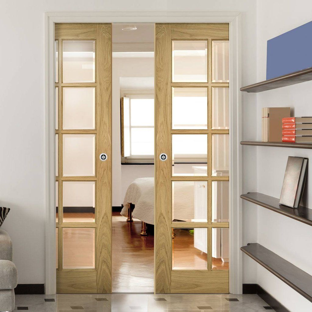 Deanta Double Pocket Bristol Oak Unfinished Door with 10 Pane Clear bevelled Safety Glass & Deanta Double Pocket Bristol Oak Unfinished Door with 10 Pane Clear ...