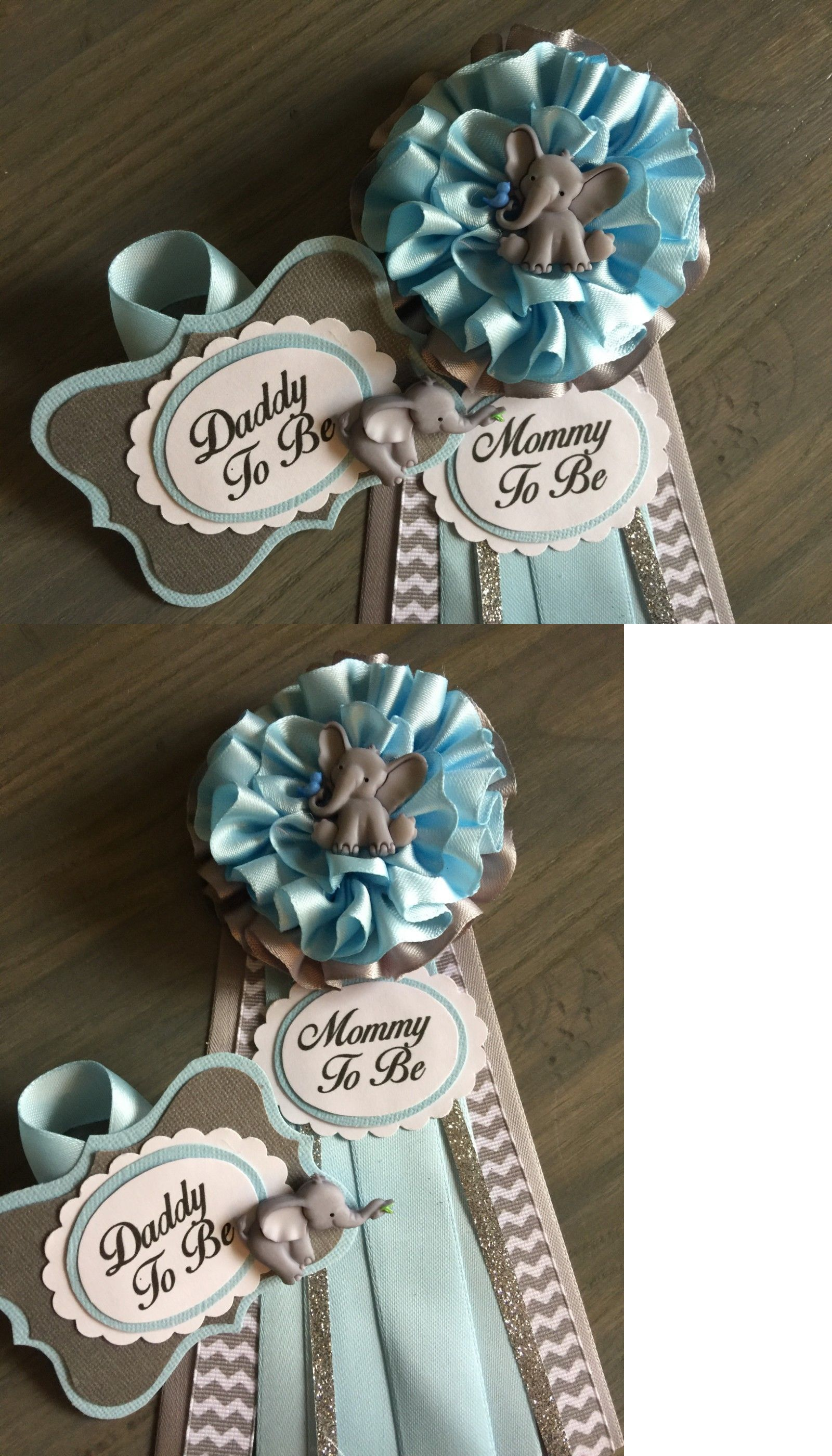 Baby Shower Pins For Mom And Dad : shower, Other, 1261:, Mommy, Daddy, Corsage, Elephant,Blue,Gray,Baby, Shower,Pin,, ONLY…, Shower, Corsage,, Shower,