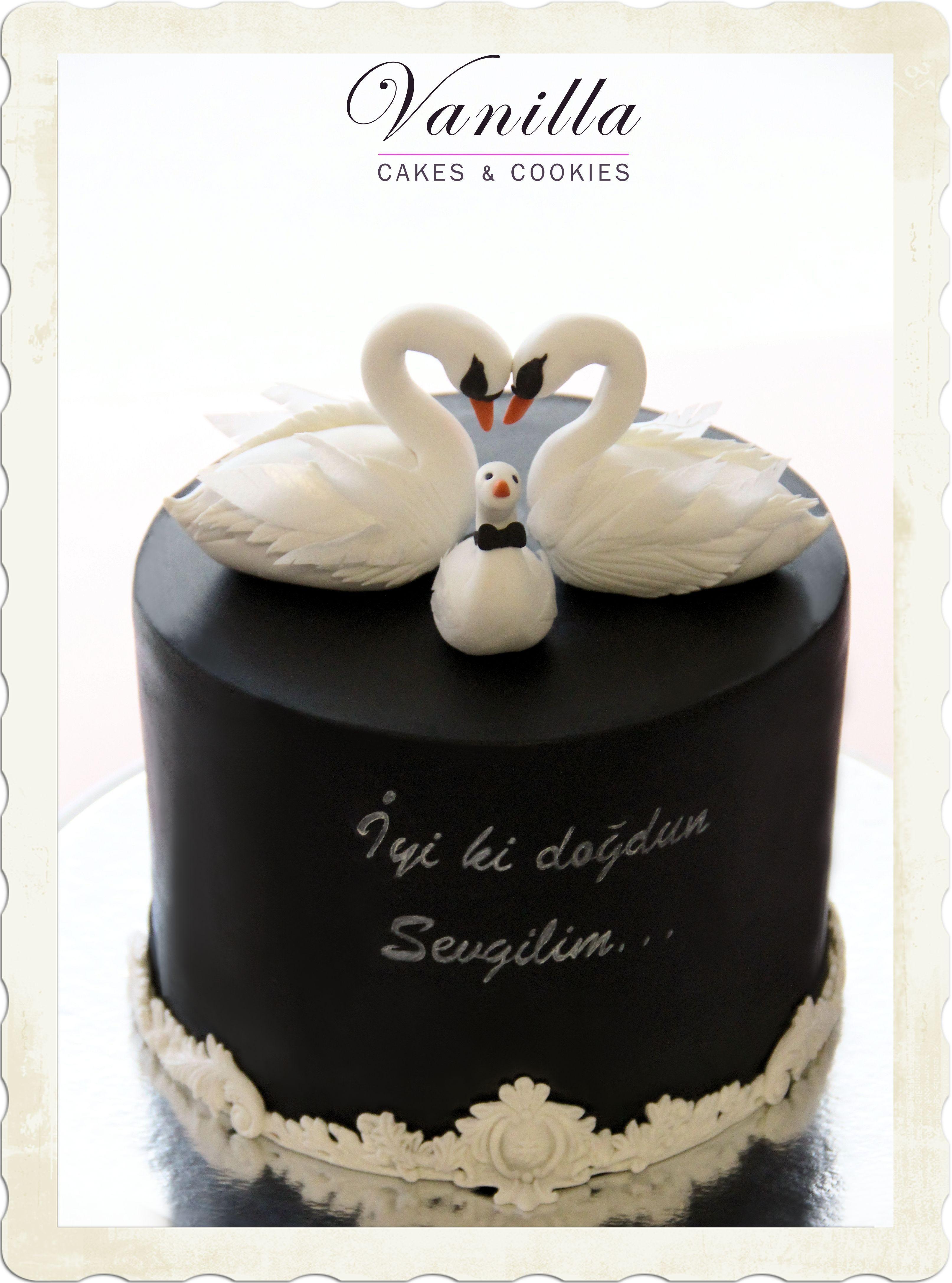 Kugulu Pasta Fondant Swan Cake Topper Swan Cake Black And White
