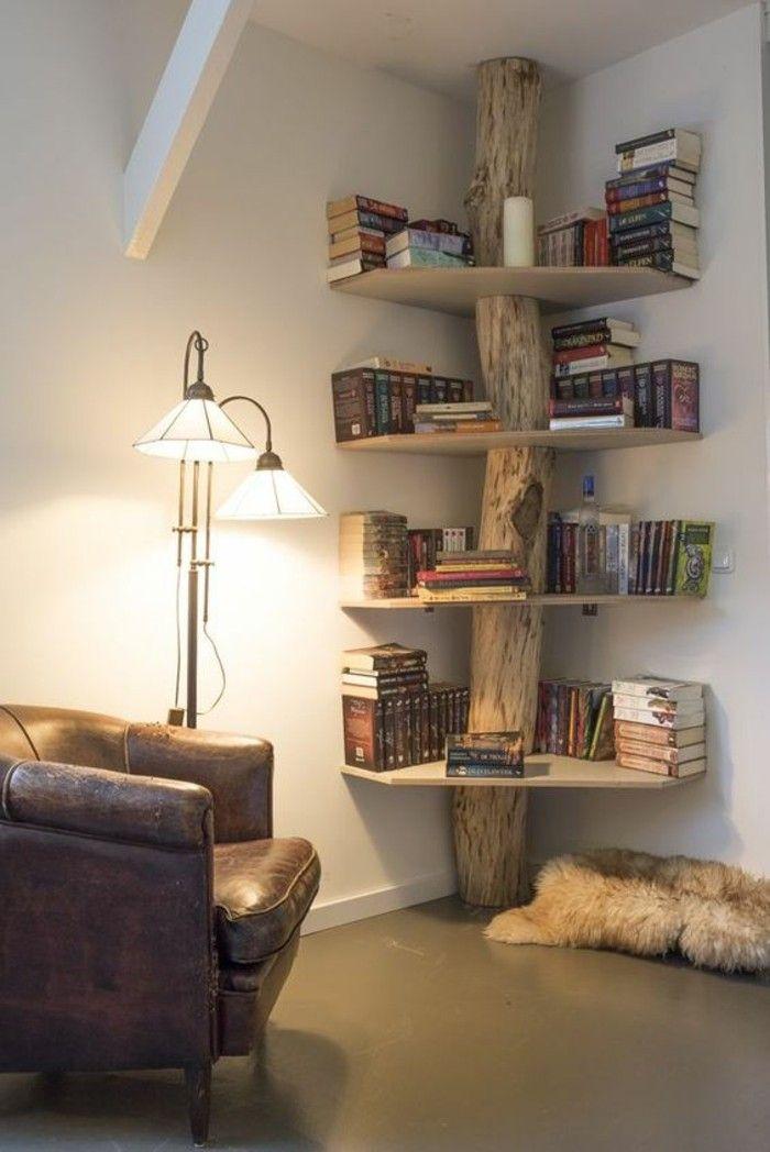 Deko Bücher Wohnideen Wohnzimmer Rustikale Regale Fell Daschräge