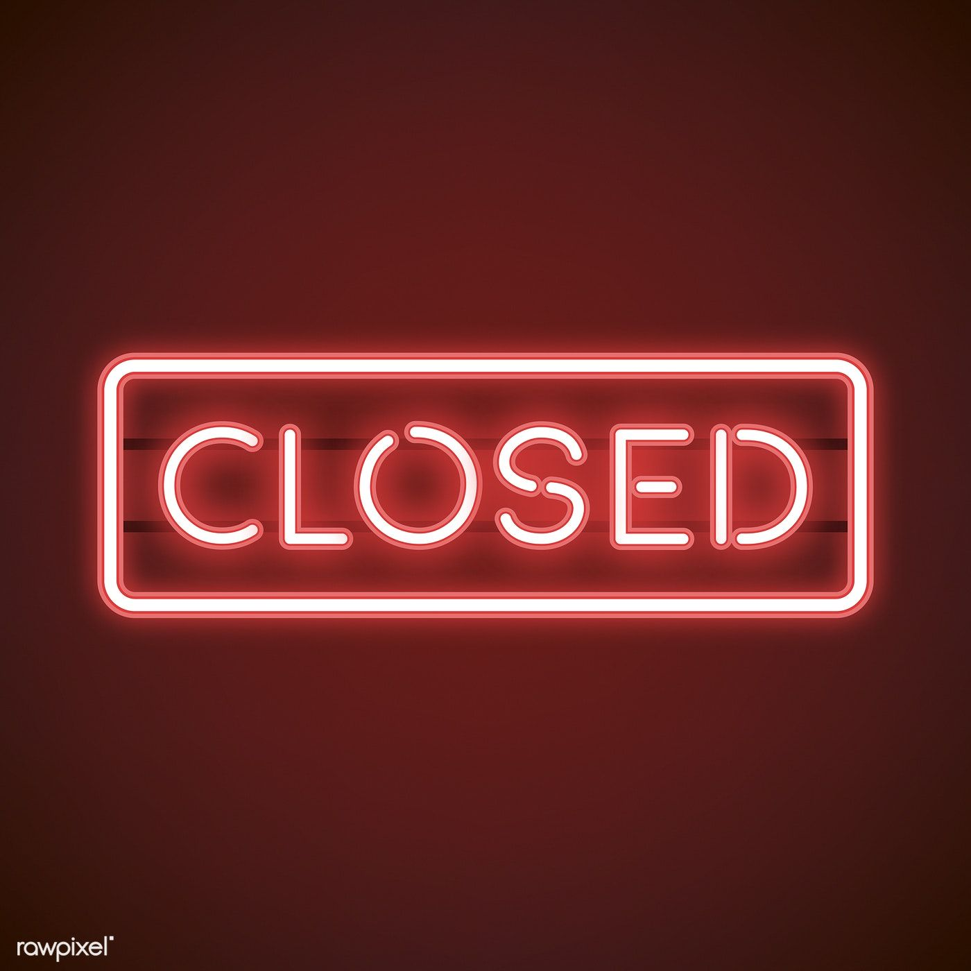 Red closed neon sign vector free image by