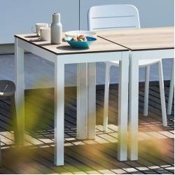 Gartentische Square Hpl Table Frame White Wood Look 50x80 Jan