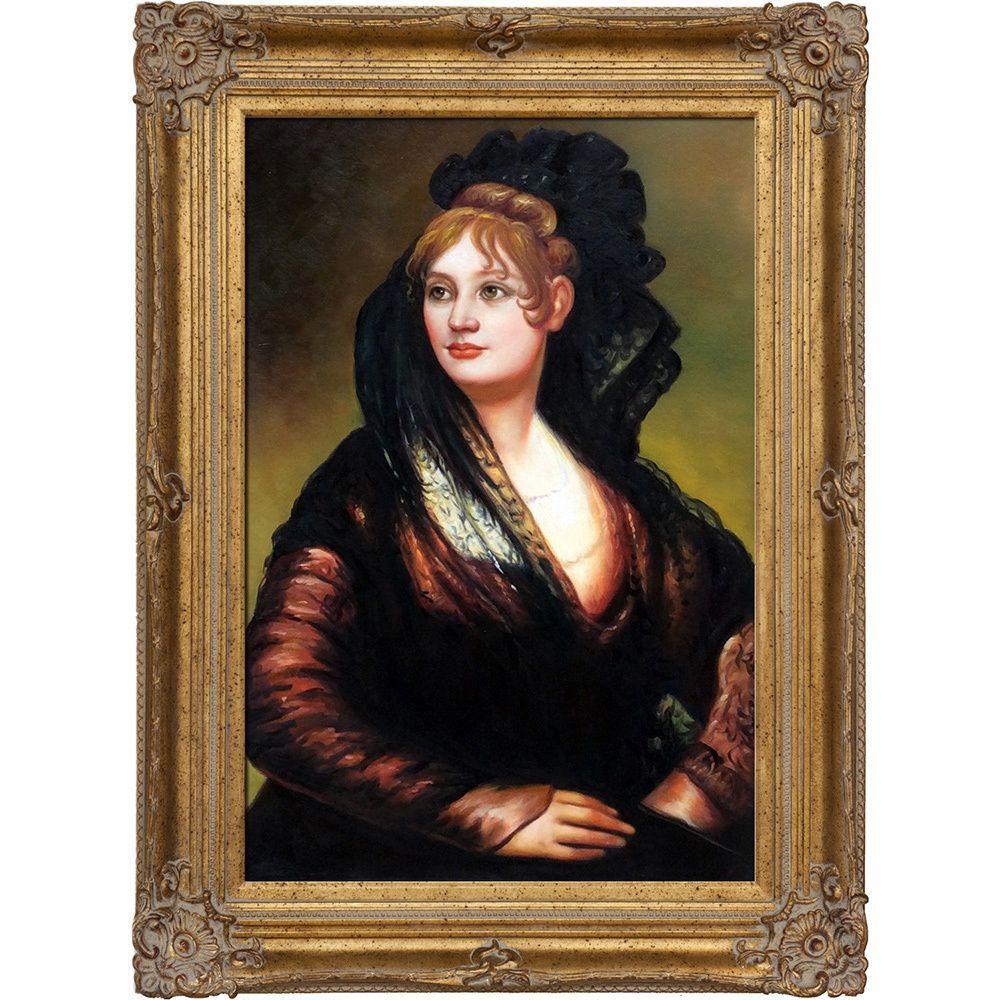 Francisco Goya 'Portrait of Dona Isabel de Porcel' Hand Painted Framed Art