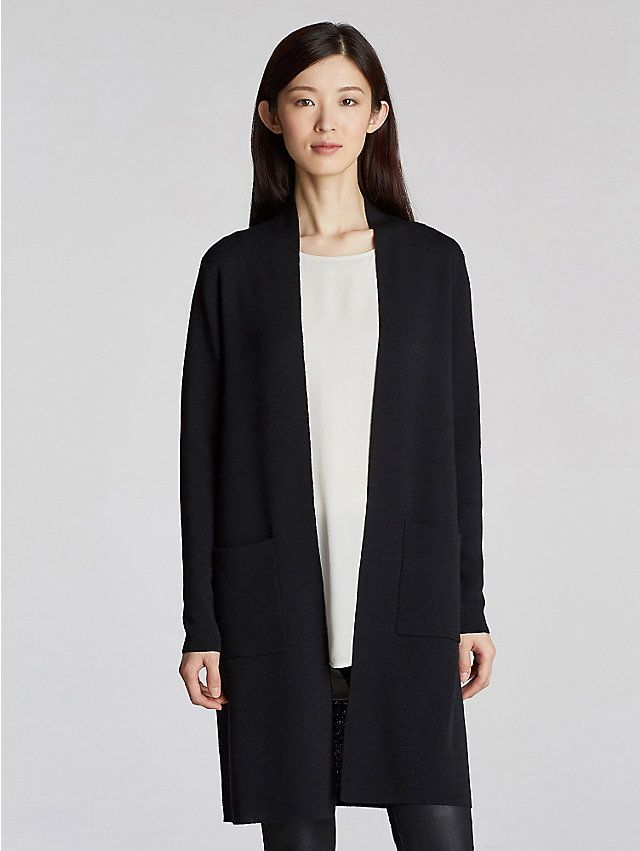 Petite Icon Kimono Cardigan in Washable Wool Crepe ...