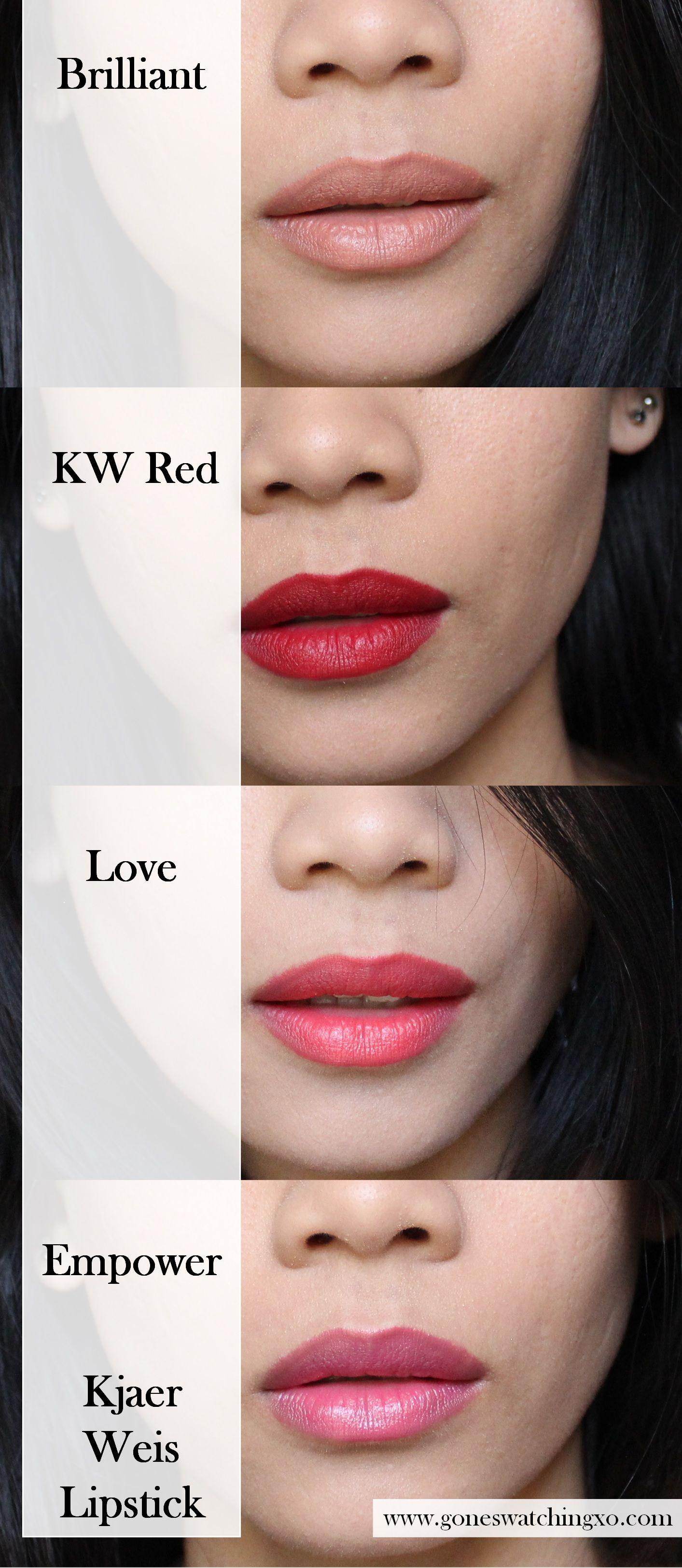 Kjaer Weis Lipstick swatches Lipstick swatches, Lipstick