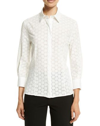 Classic Embroidered Blouse, White by Carolina Herrera at Neiman Marcus.