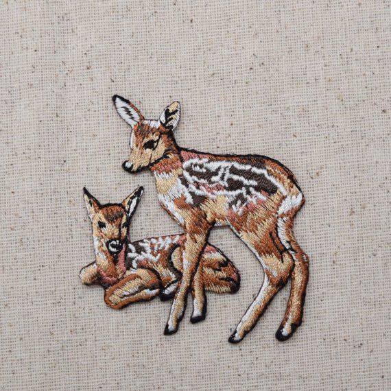 Two Deer Fawns Embroidered Iron On Applique Patch 3010488