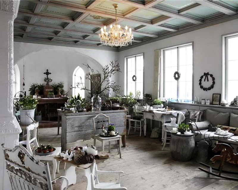 Living Room: Wonderful Shabby Chic Living Room Furniture Sets With White  Ceramic Floor White Painted Wall Interior Decor Have Candles Lighting On  The White ...