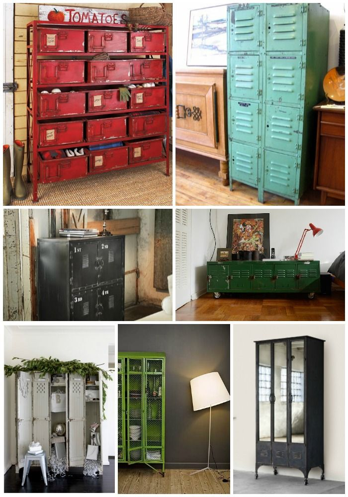 Furniture from repurposed items repurposed lockers for Repurposed metal furniture