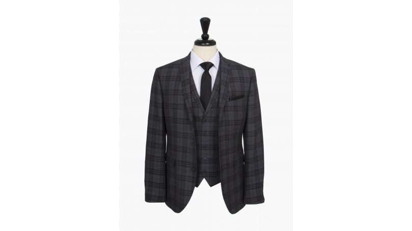 Grey Bold Checked Slim Fit Three Piece Suit Stand out in