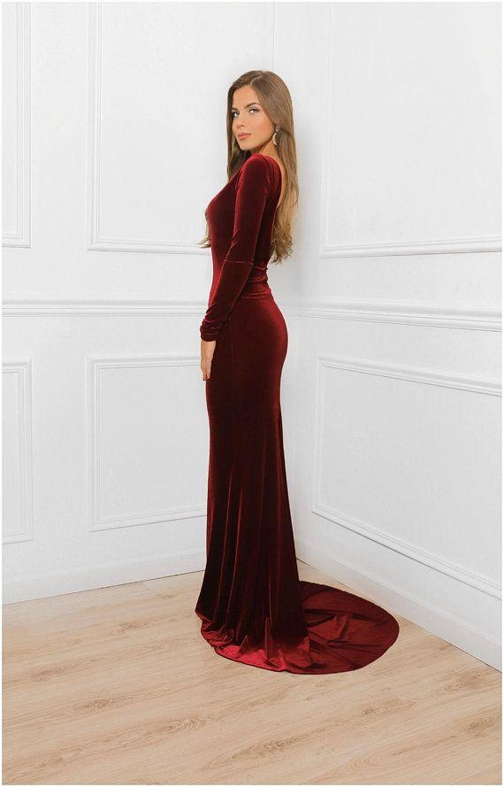 Deep Open Back Burgundy Velvet Bodycon Maxi Dress With