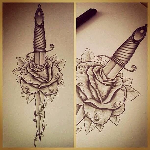 dague #rose | tatoo | pinterest