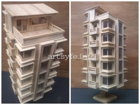 Miniature Residential Building Made Of Popsicle Sticks