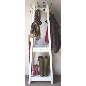 Distressed White Painted Hat And Coat Stand