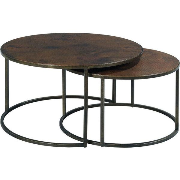 Hammary 553 911 Sanford Round Nesting Cocktail Table in Acid Washed