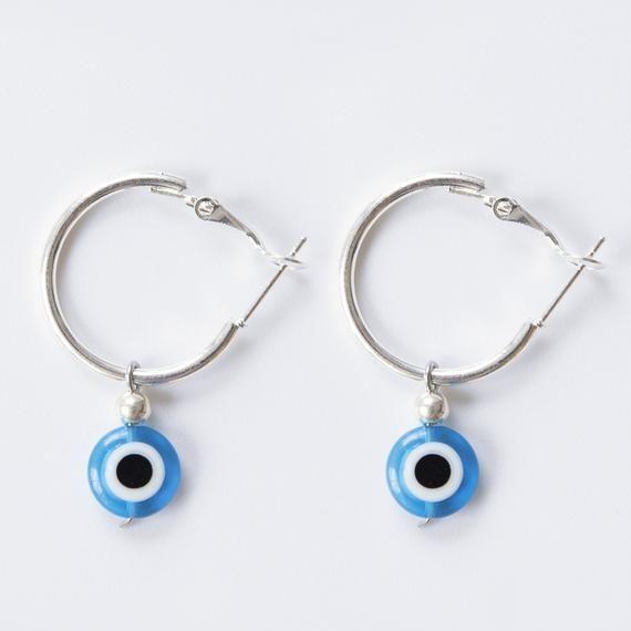 Evil Eye Earrings – Tiny Eye Hoop Earrings – Protection Earrings – Silver Hoops – Minimalist Hoops – Silver Earrings – Dainty Hoops