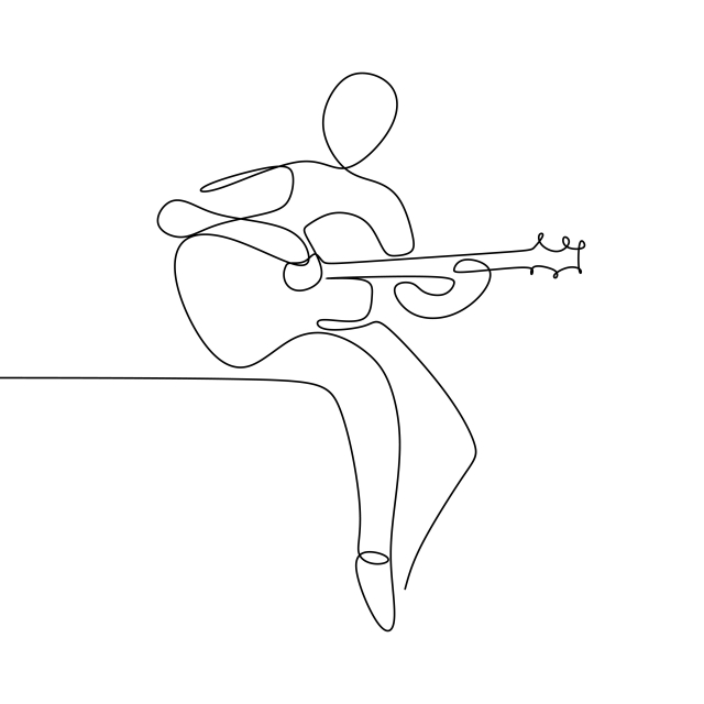 Person Sing A Song With Acoustic Classical Guitar Continuous One Line Art Drawing Vector Illustration Minimalist Design Line Art Drawings Line Art Design Line Art