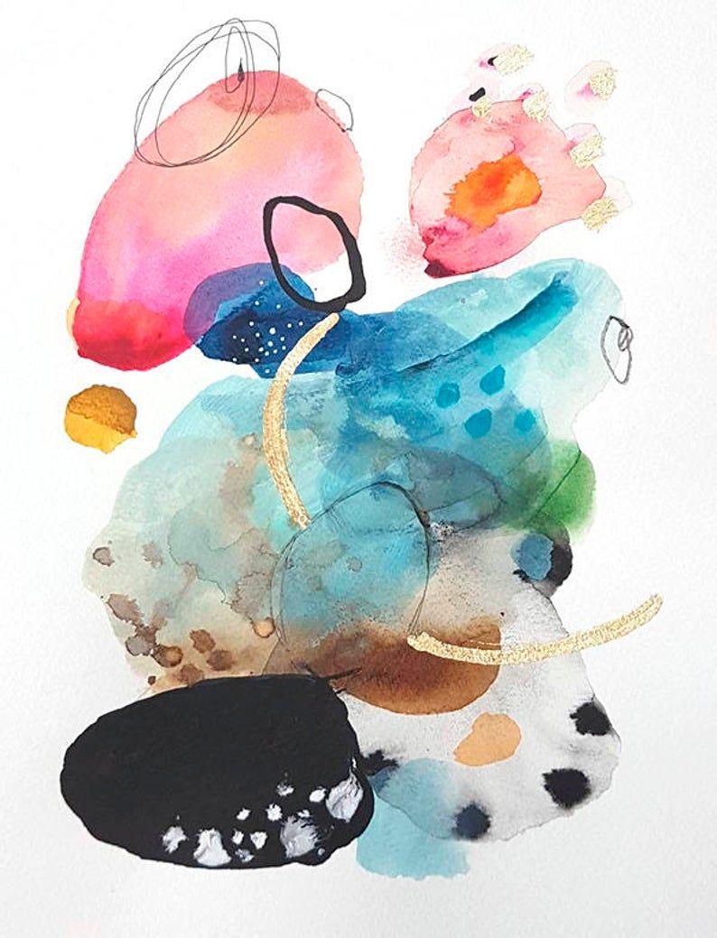 Moderne Imprime Impression Aquarelle Abstrait Abstraite Peinture