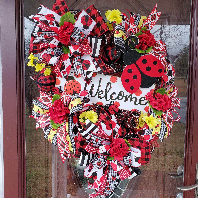 Front Door decor Easter Decor Spring Wreath Easter Wreath Spring Door Hanger Ladybug Door Hanger