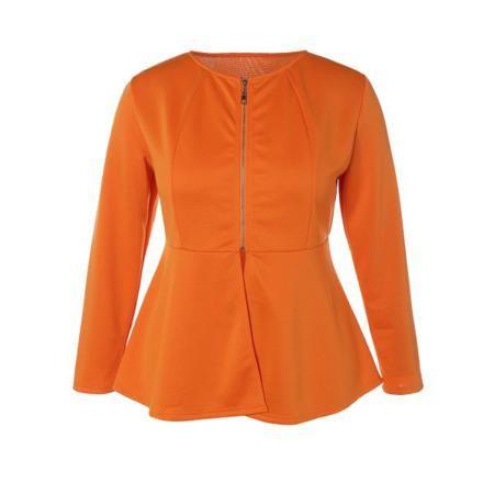 Zip Up Plus Size Skirted Jacket