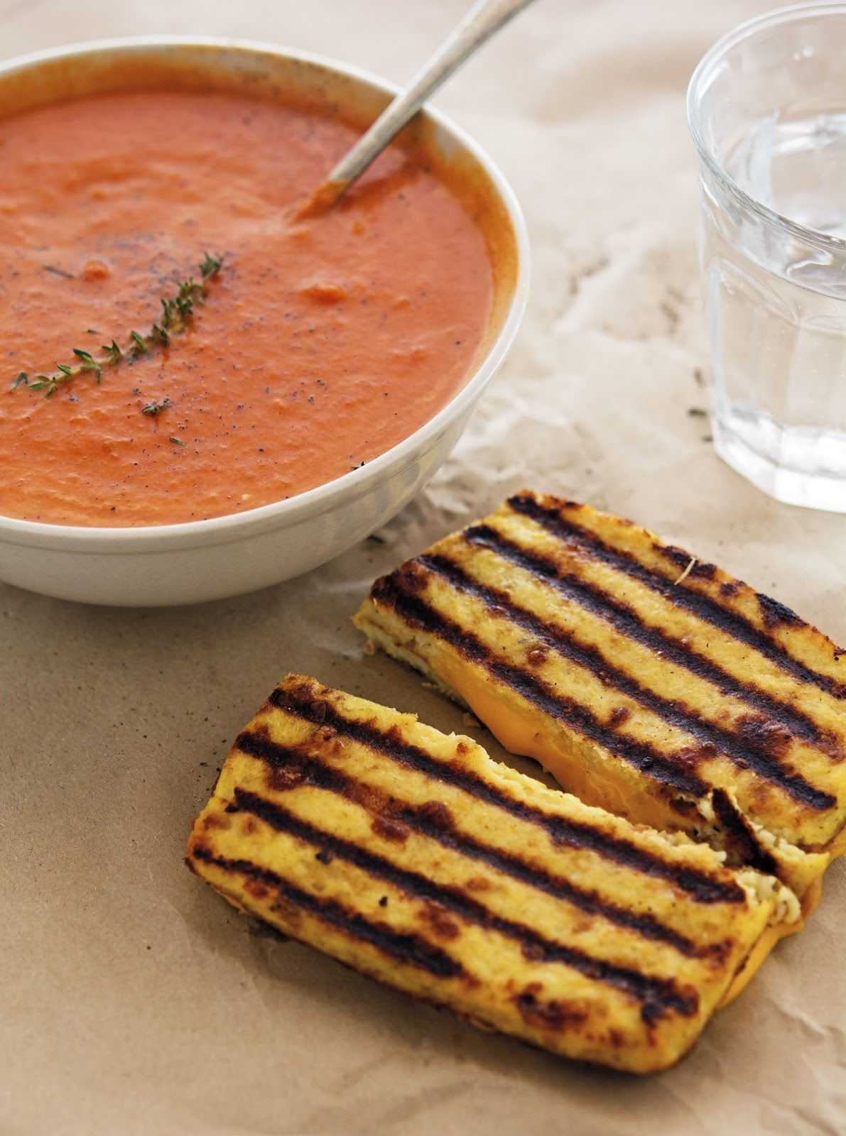 Creamy Tomato Soup + Cauliflower Crust Grilled Cheese